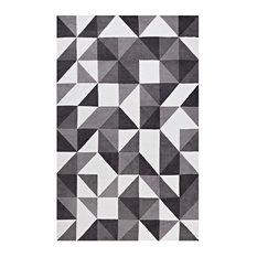 Black, Gray and White Kahula Geometric Triangle Mosaic 8x10 Area Rug