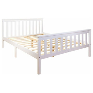 Consigned Double Bed, White Solid Wood Frame and Slats