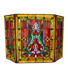 """28"""" Stained Glass Fleur de Lis Fireplace Screen, Red"""