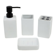 Loft 4-Piece Ceramic Bath Accessory Set, White