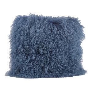 Mongolian Lamb Fur Design Throw Pillow 16x16 Inch, Blue-Gray