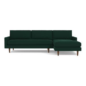 Scott 2-Piece Sectional Sofa, Evergreen Velvet, Chaise on Right