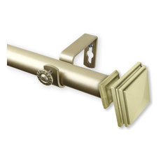 """Bedpost Curtain Rod 1 inch dia 120-170"""" Light Gold"""