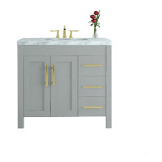 39.5-inch Crater Bath Vanity With Carrara Mable Top Gray With Brass Pulls