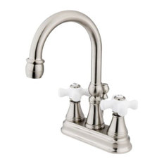 """Satin Nickel Two Handle 4"""" Centerset Lavatory Faucet with Brass Pop-up KS2618PX"""