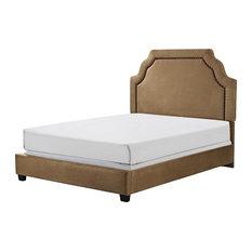 Loren Keystone Upholstered Queen Bedset, Camel Microfiber