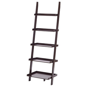 Bookcase, Pine Wood, 5 Shelves, Ladder Leaning Design, Espresso Finish