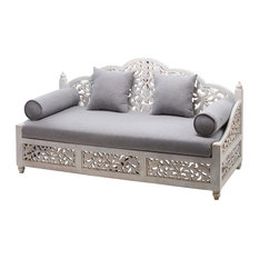 "72"" Carved White Wash Mango Wood Sofa with Pillows Lace Collection"