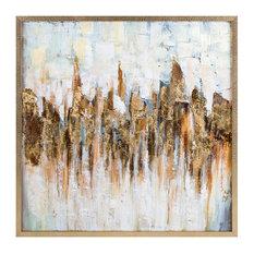 Imax Katsu Framed Oil Painting, Brown Finish