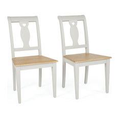 Beaufort White Farmhouse Wooden Dining Chairs, Set of 2