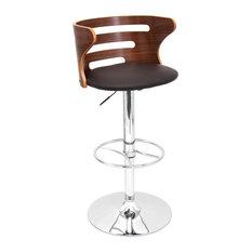 Lumisource Cosi Adjustable Barstool in Walnut Wood, Brown