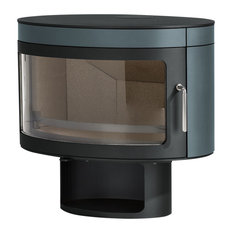 Panoramic FX1 Wood-Burning Stove, Metallic Sky Blue