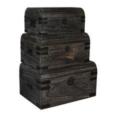 "Screen Gems Contemporary Set Of 3 Wooden Storage Box, 17""x10""x12"""