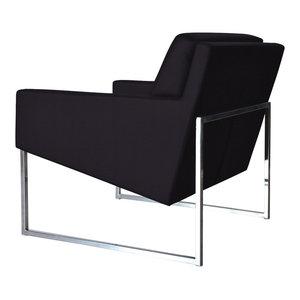 Nova Chrome Chair, Chrome Plated Steel Tubes Base, Black Leatherette