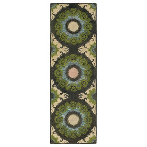 Tommy Bahama Jamison Hand-Crafted Wool Floral Panel Black/Green Area Rug