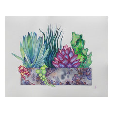 """Succulents, Original Painting by Olena Baca, 11""""x14"""""""