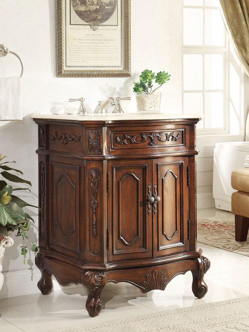 27 Inch Lush Wood Finish Bathroom Vanity   Bathroom Vanities And Sink  Consoles