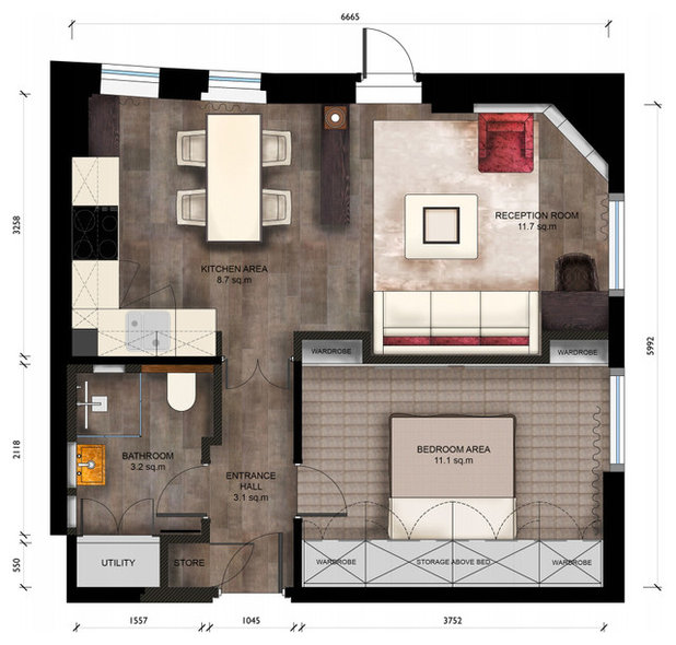 Contemporary Floor Plan by Keir Townsend Interiors