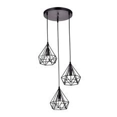 Industrial 3-lights Island Pendant Light Wire Cage Chandelier