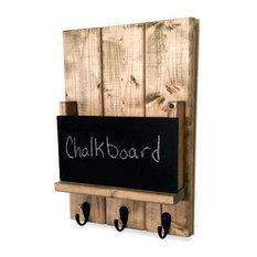Sydney Mail Organizer/Key Rack With Chalkboard, Gunstock, Brushed Nickel