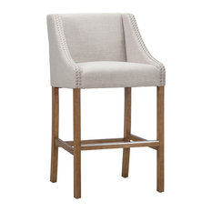 Castaic Stool by Kosas Home, French Beige, Bar Height