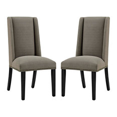 Modway Baron Fabric Set Of 2 Dining Chair With Granite Finish EEI-2748-GRA-SET