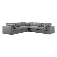 Serene Linen Down Filled Cloud Modular Sectional, Gray, 5-Seater