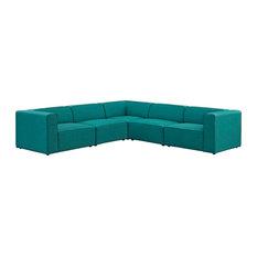 Teal Mingle 5 Piece Upholstered Fabric Sectional Sofa Set