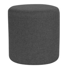 Barrington Upholstered Round Ottoman Pouf, Dark Gray Fabric