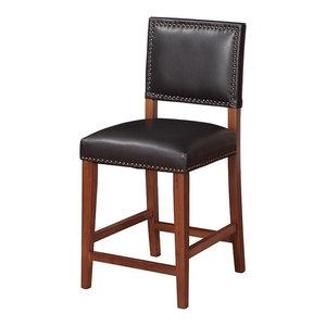 Peachy Linon Monaco 24 Faux Leather Counter Stool In Dark Espresso Machost Co Dining Chair Design Ideas Machostcouk