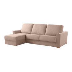 Wales Left Chaise Longue Sofa Bed, Beige