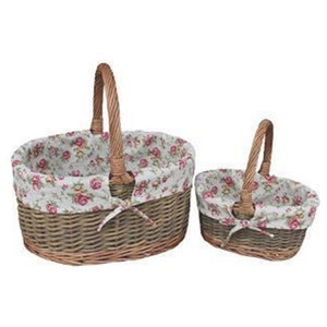 Garden Rose Lined Childs Country Oval Wicker Shopping Baskets, Set of 2