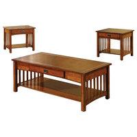 Seville Elegantly Designed 3-Piece Table Set, Antique Oak