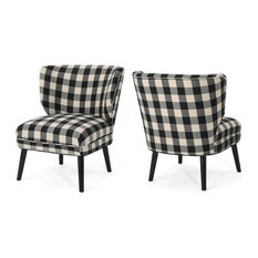 GDF Studio Dumont Accent Chairs, Black Checkerboard/Matte Black, Set of 2