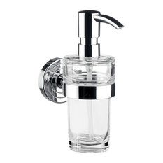 Wall Mounted Clear Crystal Glass Soap Dispenser, Polo 0721.001.01