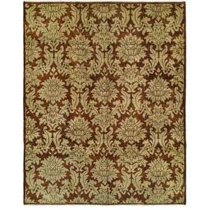 Carol Bolton Damask Hand-Knotted Rug, Brown, 6'x9'