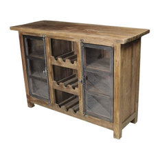 Reclaimed Teak and Iron Wine Cabinet
