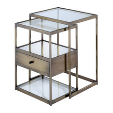 Acme Enca 2-Piece Nesting Tables Set Antique Brass And Clear Glass