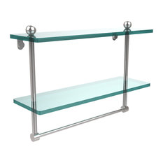 """16"""" Two Tiered Glass Shelf With Integrated Towel Bar"""