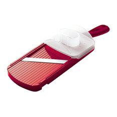Kyocera International, Inc.   Kyocera Advanced Ceramics Adjustable  Mandoline Slicer With Handguard, Red