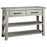 French Heritage - Courchevel Console Table - Light and airy, the Dowden Console Table has 2 open shelves to decorate and display. Gracie Oaks's rustic Driftwood finish lends a casual-chic demeanor perfect for any home.  Made of sustainable mangowood.