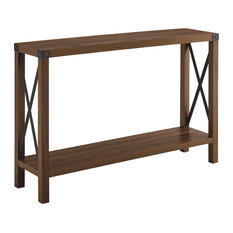46-inch Rustic Farmhouse Entryway Table Dark Walnut