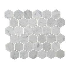 "Honeycomb Hex Polished Mosaic, Bianco Carrara, 12""x12"""