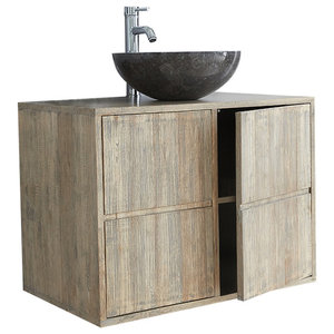 Rubberwood Wall-Mounted 2-Door Bathroom Vanity Unit, 80 cm