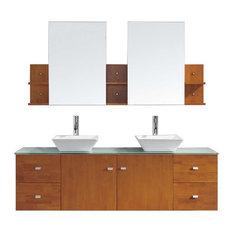 "Clarissa 72"" Double Bathroom Vanity Cabinet Set, Honey Oak"