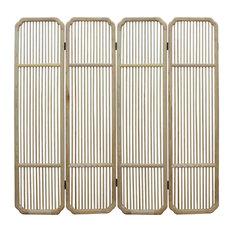 Fine Polish Raw Finish Bar Pattern Wood Panel Screen Room Divider Hcs4943
