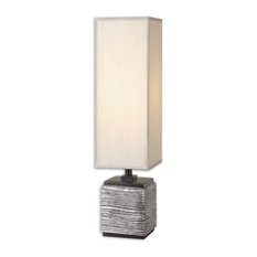 Contemporary Textured Silver Buffet Lamp With Tall Shade