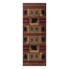 Sierra Bear Novelty Lodge Pattern Red Runner Rug, 2.7' x 10'