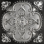 "Decorative Ceiling Tiles - Alhambra, Faux Tin Ceiling Tile, Antique Silver, 24""x24"" - PVC, Class A Fire Rating, 24x24, Design Depth is 12 mm = 31/64 in (about 3/8 in), Tin Look & No Metal Echo!, Easy Drop In Installation, Cuts With Scissors, Affordable, Will Not Rust, Light Weight,"