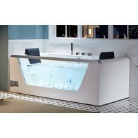 EAGO AM196ETL 6 ft Clear Rectangular Acrylic Whirlpool Bathtub for Two